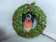 BRAND NEW HANGING ROBIN FLORAL WREATH CHRISTMAS GARDEN ORNAMENT