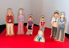 Vtg Set of 7 Wooden Wedgie Family Play Figures Guidecraft
