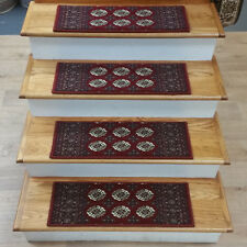 """Rug Depot 14 Traditional Non Slip Carpet Stair Treads 26"""" x 9"""" Maroon Red"""
