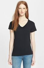BURBERRY BRIT Women's Authentic Lightweight Cotton V-Neck Tee In Black Size L