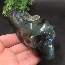 TOP-242g Natural Labradorite Skull Pipe Hand Carved Cigarette Holder W6622