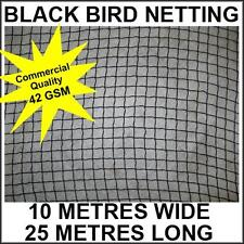 Commercial Knitted Anti Bird Netting 10 Metres Wide x  25 Metres Long - Black