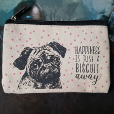 Girly Lovely Pug Purse Happiness Biscuit 1 in UK Stock BNWOT Coin Money Holder