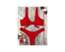 Zaful Scrunch Butt Knotted Thong Bikini Red Size 8 NWT