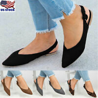 Women's Pointed Toe Ballet Flats Slip On Suede Shoes Stiletto Slingback Loafers