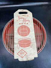 Vtg Nos Take Along Charcoal Grill Portable Barbecue Bbq Complete Bar B Q Red