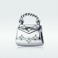 Fashion Handbag 925 Sterling Silver Bead CZ Charm For Bracelet Necklace Jewelry