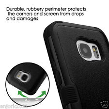 BLACK SHOCKPROOF DUO LAYER CASE+SOFT SKIN COVER SNAP FIT FOR SAMSUNG GALAXY S7