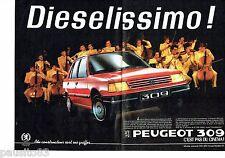 PUBLICITE ADVERTISING 116  1986   la Peugeot 309 Diesel (2p)  sort ses griffes