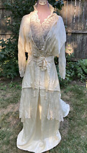 Antique Wedding Dress Late Edwardian-WW1 1913-1915 Era Silk Beaded Wedding Dress