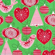 FQ - ORNAMENTS FOR ALL - GREEN - FESTIVE MICHAEL MILLER COTTON FABRIC CHRISTMAS