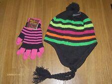 NWT DAPPY HAT ,MULTI COLOURED & UV NEON PINK STRIPED  GLOVES