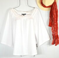 New White Peasant Blouse Textured Embroidered Shirt Summer Boho Top Size XL NWT