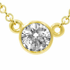 """0.40 Ct Round H SI1 Natural Diamond Solitaire Pendant 14k Gold Yellow 16"""" Chain"""