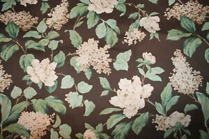"""John Wolf 2003 Brown Canvas Lilac White Floral Upholstery Fabric 48"""" x 84"""""""