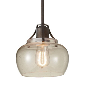 Feiss Shaded Pendant Light 8 in. W Adjustable Hanging Length Dry Rated Iron