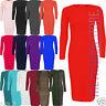 Womens Ladies Plain Long Sleeve Stretch Midi Maxi Bodycon Dress Sizes 8-22 NEW
