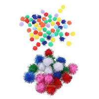 100PCS Mini Sparkly Glitter Tinsel Pompom Balls Small Pom Ball Pet Cat Toys Gift