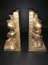Solid Heavy Polyresin Gold Finish Magnolia Blossom Bookends Pair 1995 Cbk Ltd