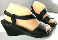Born Wedge Sandals Womens Black Leather Shoes Size 7 / 38