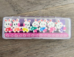E15 Vintage 90s 00s Eraser Rubbers - Cute Bunny Rabbit Erasers In Case