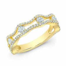 14k Yellow Gold Floating Diamond Scallop Edge Open Band Anniversary Ring 0.85 CT