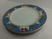 "4pc Debbie Mumm Snowman Dinner Plate 11"" Sakura Blue Red Christmas Winter (6C1)"