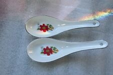 Lot of two   HOANG-KUER White porcelian oriental noodle spoons