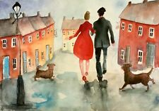 ORIGINAL ART WATERCOLOUR PAINTING WALKING THE DOGS