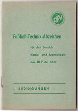 Heft Fussball Technik Abzeichen Kinder - & Jugendsport DFV DDR Bedingungen 1976