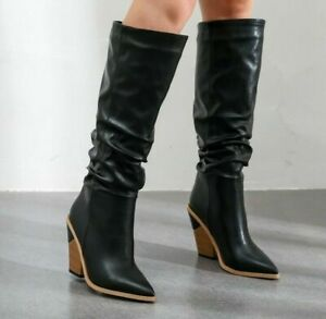 Retro Women Pointed Toe Knee High Heels Boots Leather Clubwear Party Punk Shoes