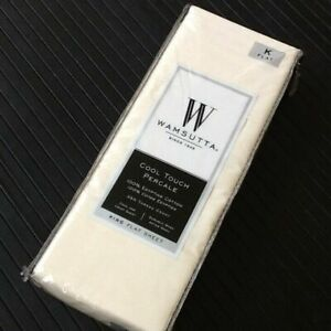New IVORY Wamsutta Cool Touch Percale 350TC 100% Egyptian Cotton KING Flat Sheet