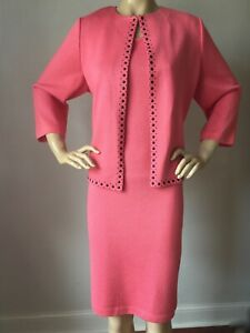 NWT St John knit dress Suit size 18 Bright Coral Santana knit wool rayon