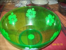 LARGE MELAMINE CLEAR GREEN PUNCH BOWL 14 INCH VINTAGE RETRO SERVING BOWL