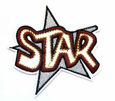 Star With Writing Iron On Patch-  Kids Crafts Badge Applique Sew