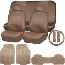 SOLID dark beige / tan PU LEATHER SEAT COVERS &  FLOOR MATS SET FOR CARS 3653