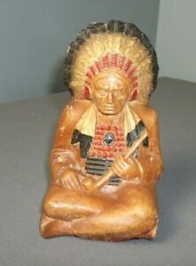 Vintage Native American Indian Figurine - Seated w/ Peace Pipe - Burwood - aa pp