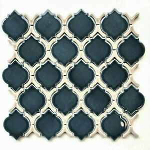 Deep Blue Glossy Moroccan Porcelain Mosaic Tile Wall and Floor Backsplash