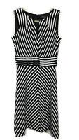 White House Black Market Womens Dress Striped Sleeveless A Line WHBM Size 2