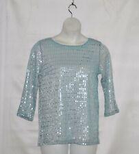 Bob Mackie Glitz and Glam Pullover Top Size S Aqua