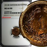 Switzerland Bronze 1913 B 1 Rappen NGC MS66 RB NICE RED  KM# 3.2 (037)