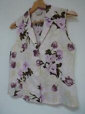 Ladies Lovely Minuet Lilac Mix Floral Linen Sleeveless Button Blouse Size 8, Vgc