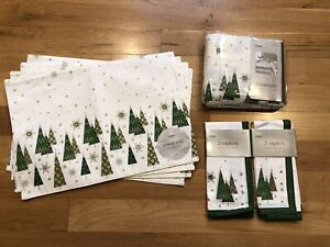 Martha Stewart Everyday Gold Starry Forest Tablecloth, 4 Napkins & 4 Place Mats