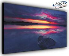 Still Lake Landscape Panoramic Canvas Wall Art Print Framed XXL 55 inch x 24 inc