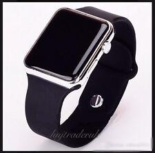 Digital LED Rectangular Screen Silicon Wrist Watch Men Women Kids Boys-Silver