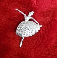 Vintage Stay Bright silver tone ballerina dancer dancing lady Brooch Pin