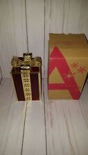 2007 Avon stainglass gift box red/goldtone candle holder Christmas holiday (J1)