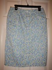 8 Talbots Blue, Aqua, Green Geometric Cotton Blend Skirt