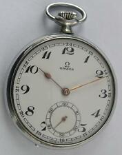VINTAGE OMEGA OPEN FACE MEN'S POCKET WATCH SWISS MADE 1938 IN PERFECT CONDITION