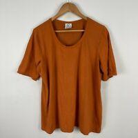 Valia Australia Womens Top T-Shirt XL Brown Short Sleeve Scoop Neck